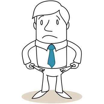 Privatinsolvenz, Schulden, Gründe für Zahlungsunfähigkeit, Mann mit leeren Hosentaschen