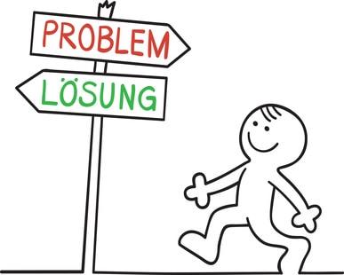 Problem: Schulden - Lösung: Privatinsolvenz / Figur steht vor einem Scheideweg